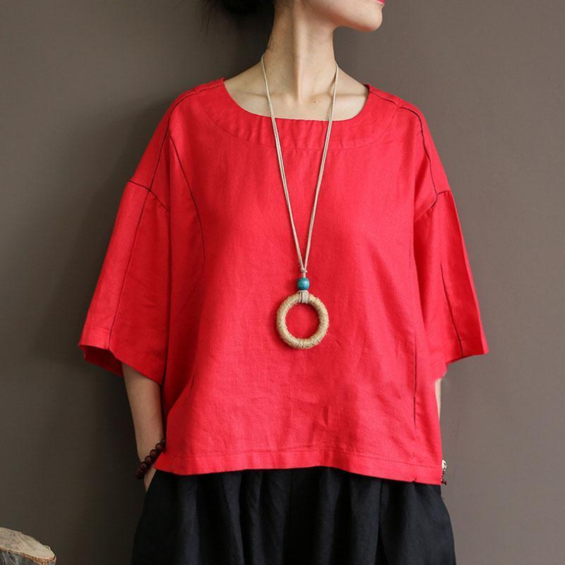 women natural linen t shirt Loose fitting Loose Round Neck 12 Sleeve Women Red Tops