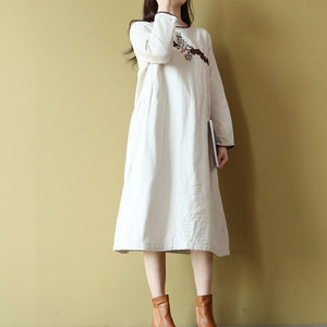women nude  Midi-length cotton dress Loose fitting cotton maxi dress boutique long sleeve embroidery cotton dresses