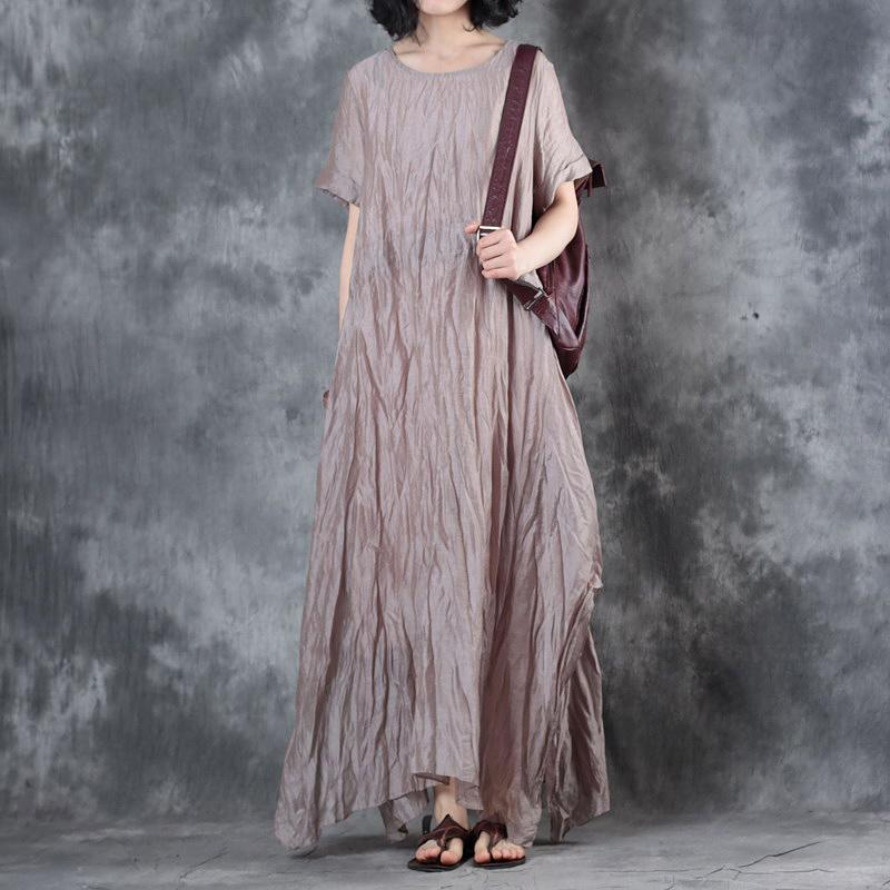 women nude gray  linen dress plus size clothing side open gown casual short sleeve gown