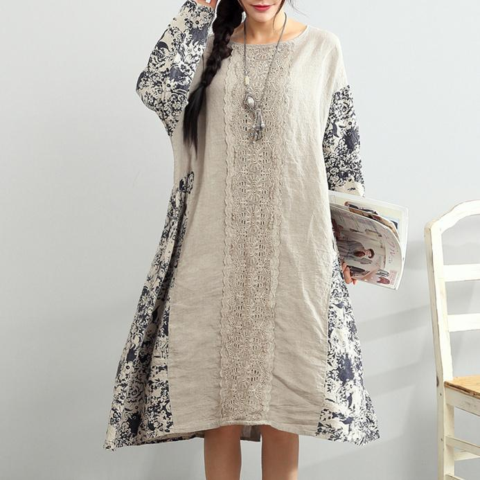 women patchwork prints linen dress plus size traveling clothing Elegant long sleeve embroidery linen dresses