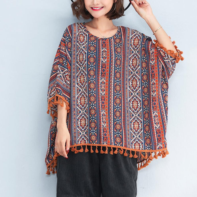 women prints natural cotton t shirt plus size casual cardigans New tassel batwing sleeve natural cotton pullover