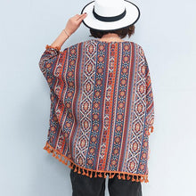 Load image into Gallery viewer, women prints natural cotton t shirt plus size casual cardigans New tassel batwing sleeve natural cotton pullover