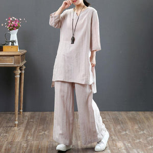 women pure linen blouse plus size clothing Women Two Pieces Set Three Quarter Sleeve Top Casual Pants