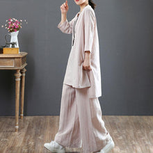 Load image into Gallery viewer, women pure linen blouse plus size clothing Women Two Pieces Set Three Quarter Sleeve Top Casual Pants