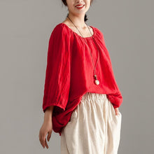 Load image into Gallery viewer, women pure linen tops Loose fitting Long Sleeve Red Casual Linen Boat Neck Blouse