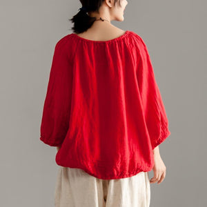 women pure linen tops Loose fitting Long Sleeve Red Casual Linen Boat Neck Blouse