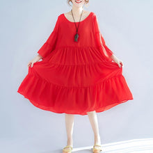 Load image into Gallery viewer, women red chiffon caftans plus size patchwork chiffon gown boutique big hem maxi dresses