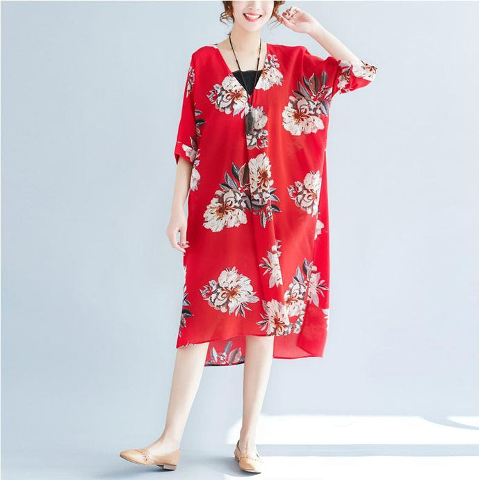 women red floral pure chiffon dresses   casual traveling clothing casual v neck low high design cotton dress