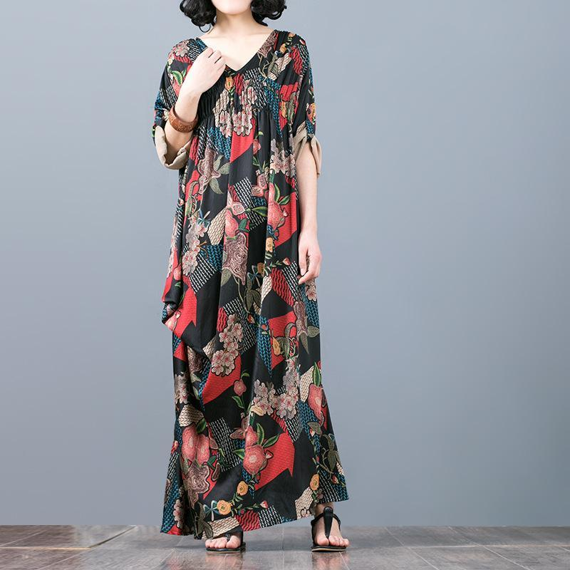 women red floral silk dresses plus size wrinkled asymmetric silk clothing dress 2018 v neck caftans
