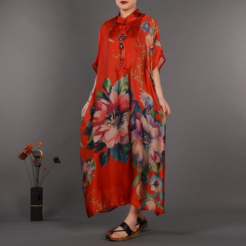 women red prints long silk dresses casual stand collar silk clothing dress casual Chinese Button maxi dresses