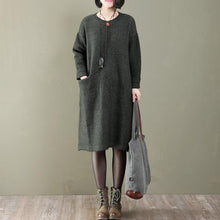 Load image into Gallery viewer, women tea green knit dress casual sweaters casual side pocket long sweaters