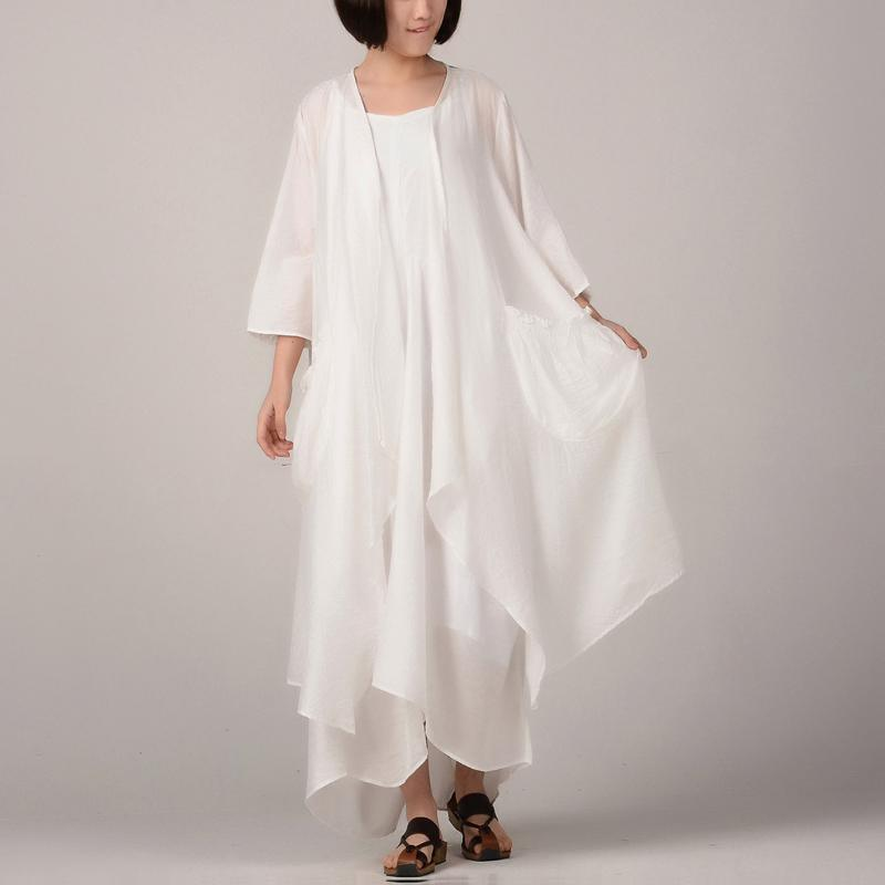 women white cotton dresses plussize asymmetric cardigan women sleeveless kaftans two pieces