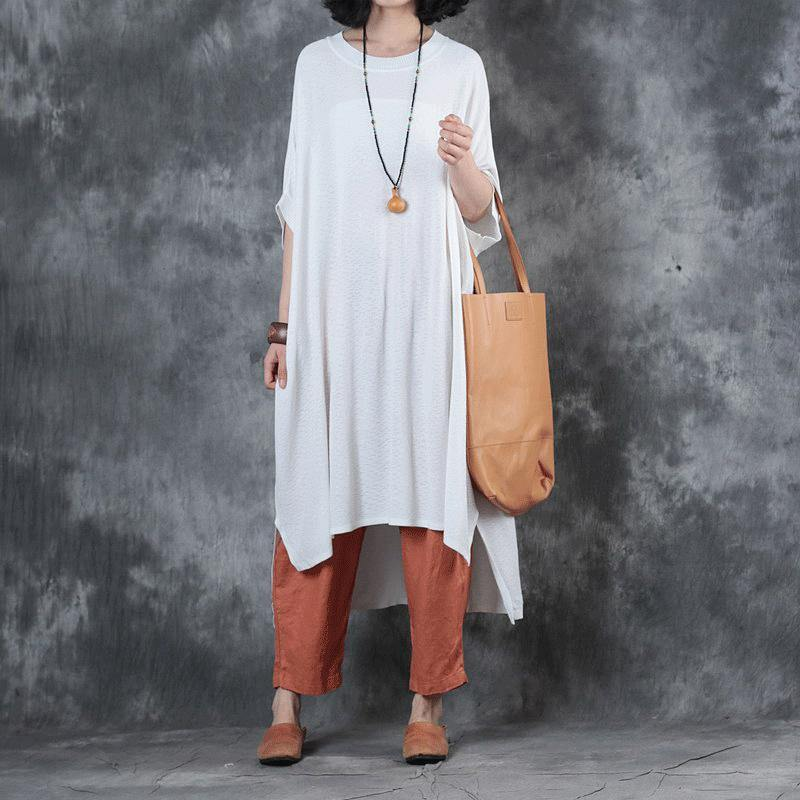 women white  cotton maxi dress plus size side open caftans casual low high design caftans