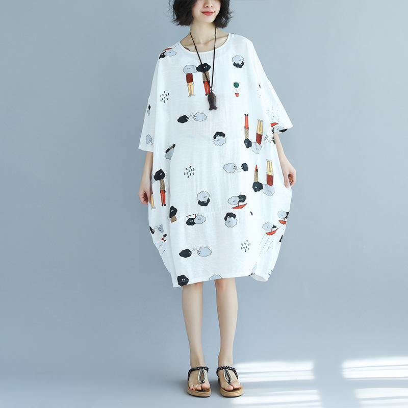 women white prints  cotton shift dresses oversize holiday dresses top quality bracelet sleeved o neck cotton dress