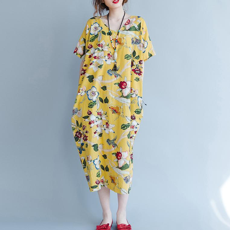 women yellow Midi linen dresses trendy plus size traveling clothing vintage back open floral cotton dresses