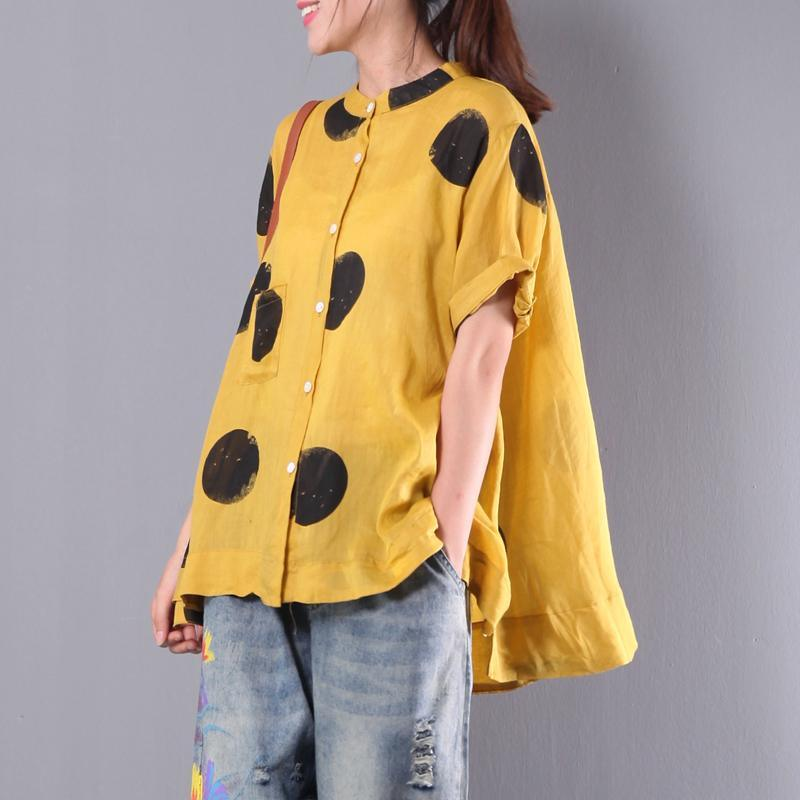 yellow casual summer linen tops plus size stylish blouse o neck shirts