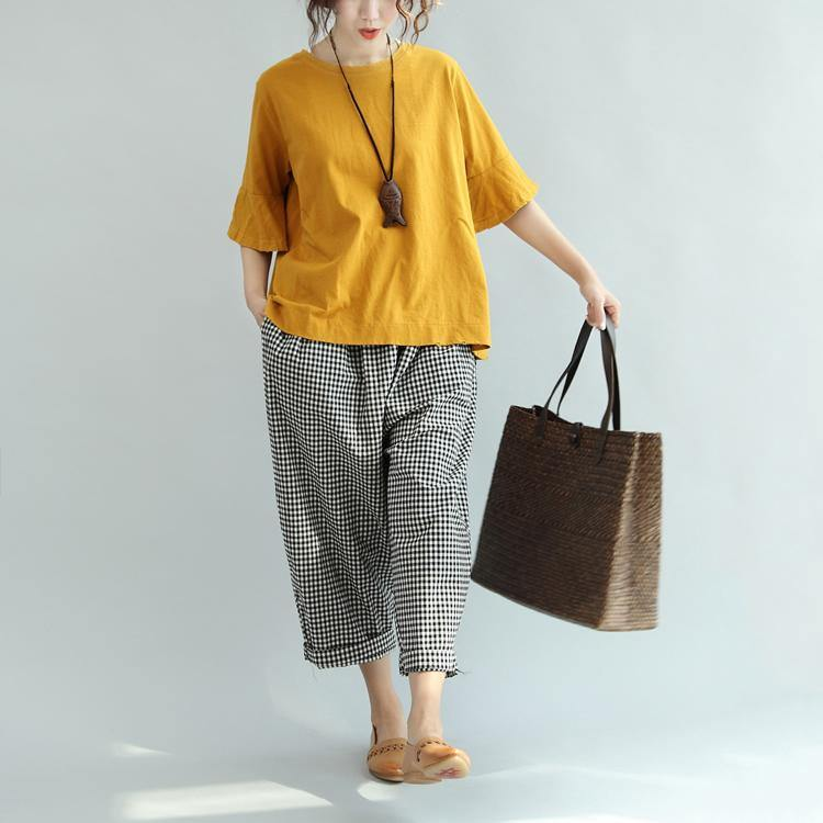yellow cotton tops oversize casual o neck blouse