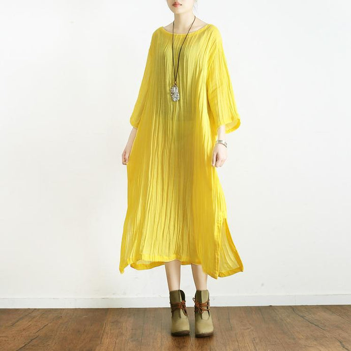 yellow linen dress casual plus size ruffles sundress bracelet sleeved maxi dress