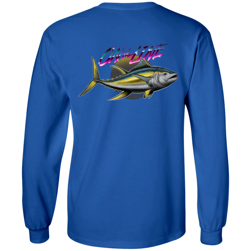 Yellowfin Tuna Long Sleeve On The Line Saltwater Double Sided T-Shirt