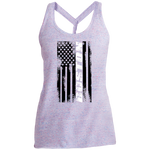 Boston Massachusetts American Flag Women's Cosmic Twist Back Tank