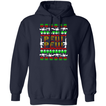 Pew Pew Firearm Rifle Ugly Christmas Pullover Hoodie