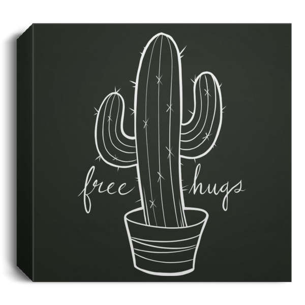 Free Hugs Funny Cactus Square Canvas 1.5in Frame