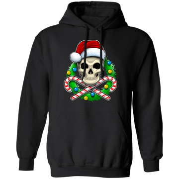 Santa Skull Candy Cane Christmas Reef Pullover Hoodie