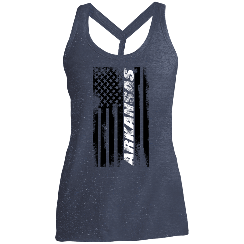 Arkansas State American Flag Women's Cosmic Twist Back Tank