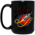Mars Rocket Ship 15 oz. Black Coffee Mug