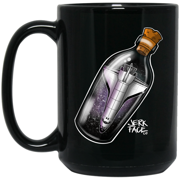 Space Ship In a Bottle 15 oz. Black Coffee Mug