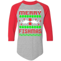 Merry Fishmas Ugly Christmas Baseball Raglan T-Shirt