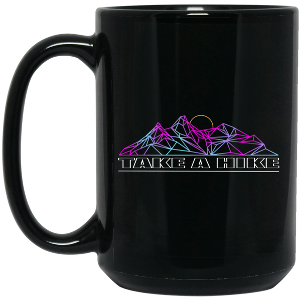 Colored Lines Take a Hike 15 oz. Black Coffee Mug