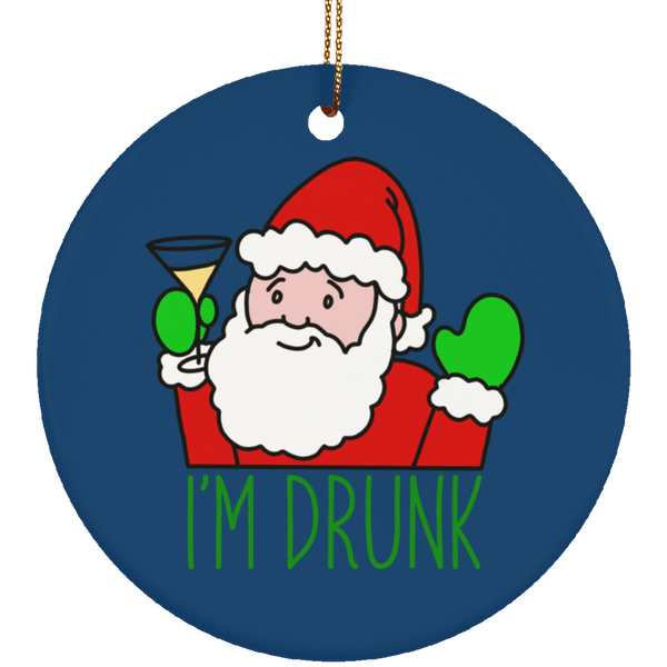 I'm Drunk Santa Claus Drinking Christmas Ceramic Ornament