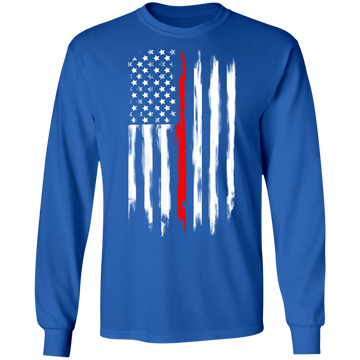 Firefighter Thin Red Line American Flag Long Sleeve T-Shirt