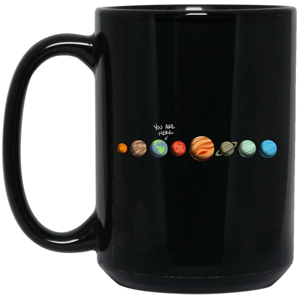 Solar System You Are Here Earth 15 oz. Black Coffee Mug