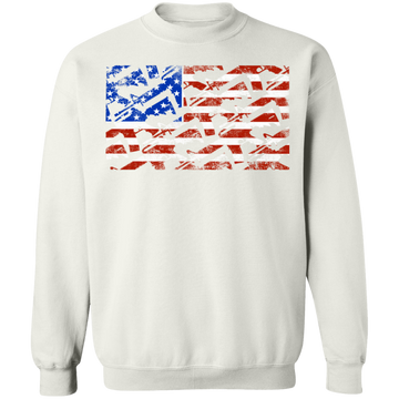 Rifle Firearm American Flag Crewneck Sweatshirt