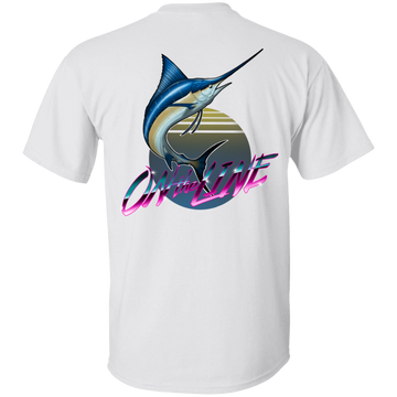 Atlantic Blue Marlin Swordfish On The Line Saltwater Double Sided T-Shirt