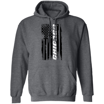 Chicago Illinois American Flag Pullover Hoodie