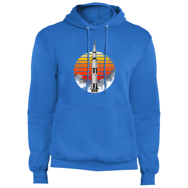 Men's Space USA Sun Rocket Ship Launch Fleece Pullover Hoodie