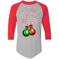 Stop Looking At My Balls Funny Ugly Christmas Baseball Raglan T-Shirt