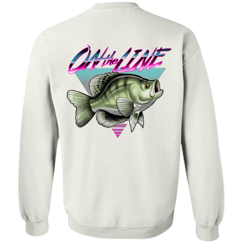 White Crappie Perch On The Line Saltwater Double Sided Crewneck Sweatshirt