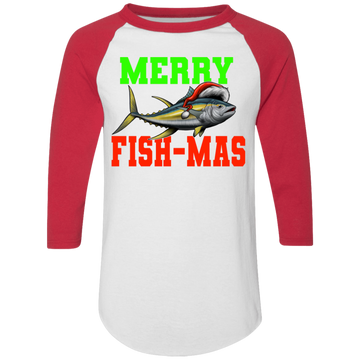 Merry Fish-Mas Saltwater Yellowtail Ugly Christmas Baseball Raglan T-Shirt