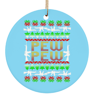 Pew Pew Rifle Firearm Ugly Christmas Ceramic Ornament