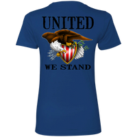 1776 American Bald Eagle United We Stand Women's Double Sided Boyfriend T-Shirt