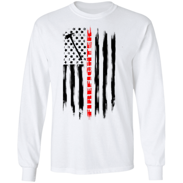 Firefighter Fireman Firewoman Fire Department American Flag Long Sleeve T-Shirt