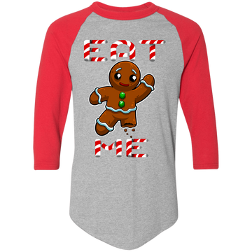 Eat Me Gingerbread Man Ugly Christmas Baseball Raglan T-Shirt