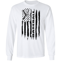 Baseball American Flag Long Sleeve T-Shirt