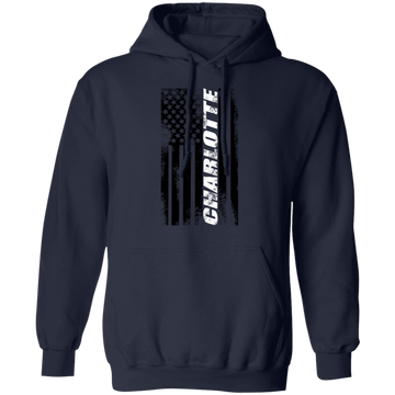 Charlotte North Carolina American Flag Pullover Hoodie