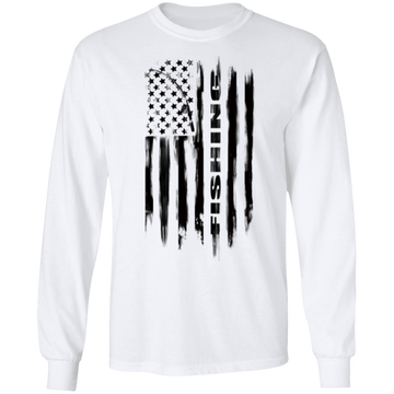 Fishing Saltwater Fresh Water Fish American Flag Long Sleeve T-Shirt