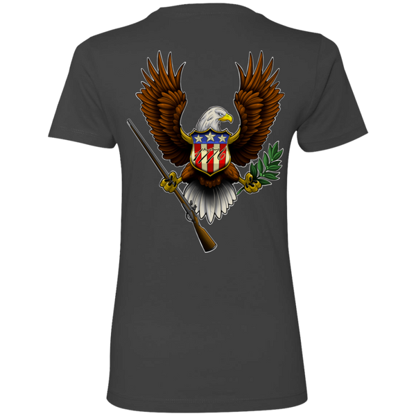 Women's Lady Patriot 1776 American Bald Eagle Double Sided Boyfriend T-Shirt